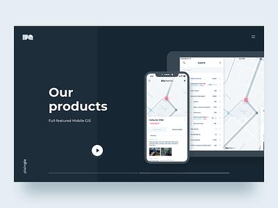 PlainGIS site : product page web site design interface map tablet app mobile interface design spatial geo gis web design ux design ui
