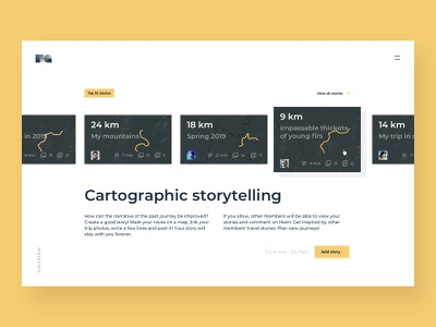 Cartographic storytelling (WIP) : 1 clean simple geo gis catalog blog storytelling maps interface uxui ui