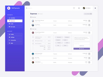 Pali Payment Dashboard Concept sketch startup design ux ui payment control panel admin dashboard
