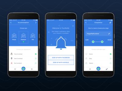 YourNotify Mobile App Mockup interface blue alert notify notification ux ui design mobile app