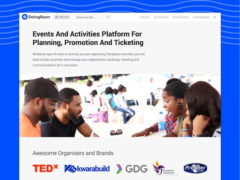 DoingSoon - Planning, Promotion & Ticketing Platform ticketing event app webdesign startup ui ux design