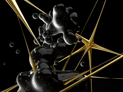 Metabol Experiments web design illustraion oil gold art generative generativeart ui abstract balls design art cinema 4d 3d black drops design motion metaball cinema4d c4d