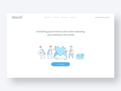 IdeaLaunch — Startup Launchpad Concept launchpad interface fintech design web startup outline white clean characters illustration lineart ui