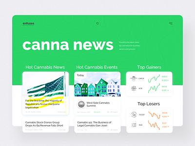Cannabis Platform desktop layout branding brand ux ui news feed homepage green clean design website web platform newsfeed news marijuana canna cannabis