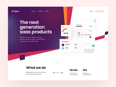Appex-Software Landing page saas product trendy modern header design agency web design web product software saas header ui landing page