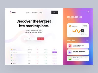 CoinX -Crypto Conceptual Design web template web design web modern finance visual design ui crypto currency cryoto nft header design header ui header landing page