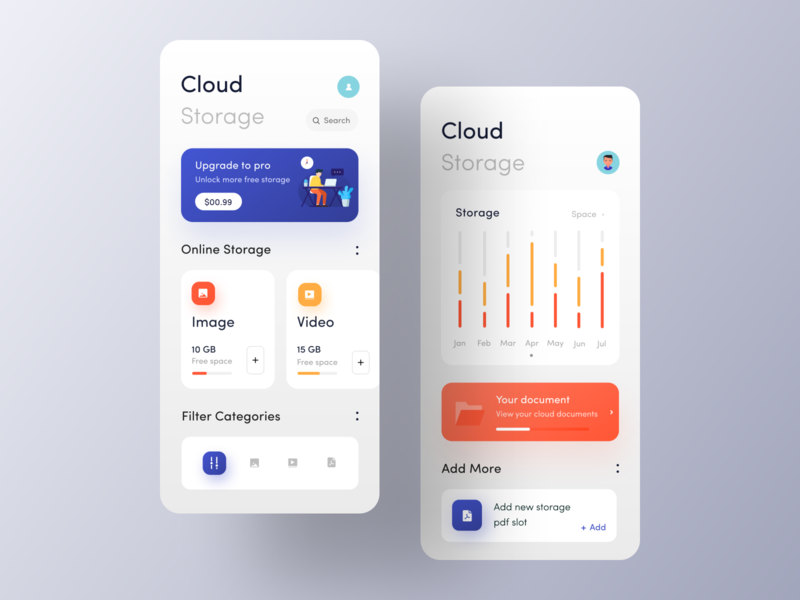 Cloud Storage app IOS illustration freelancer freelance designer mobile application product design team oreo color palette typography uiux design ux design ui design 2019 trend app inspiration ui app design app ui design android app ios app app design app concept app