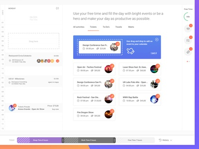 Recommendations concept for Calendar View