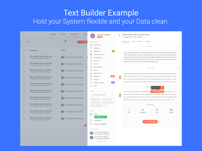 Flexible Text Builder for clean Data. multipurpose profile interface design templates ux designer web ui ux design interface design overlay clean data content creation content contacts customers customer care saas caas crm system crm builder text builder