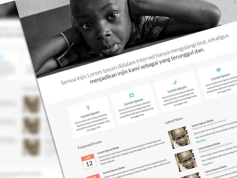 Charity Template web homepage ui simple flat nonprofit charity template psd