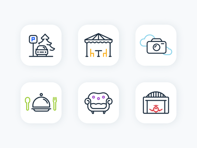 Icons for a Flight School ✈️ icons linear iconography icon hangar catering outdoor parking icon set