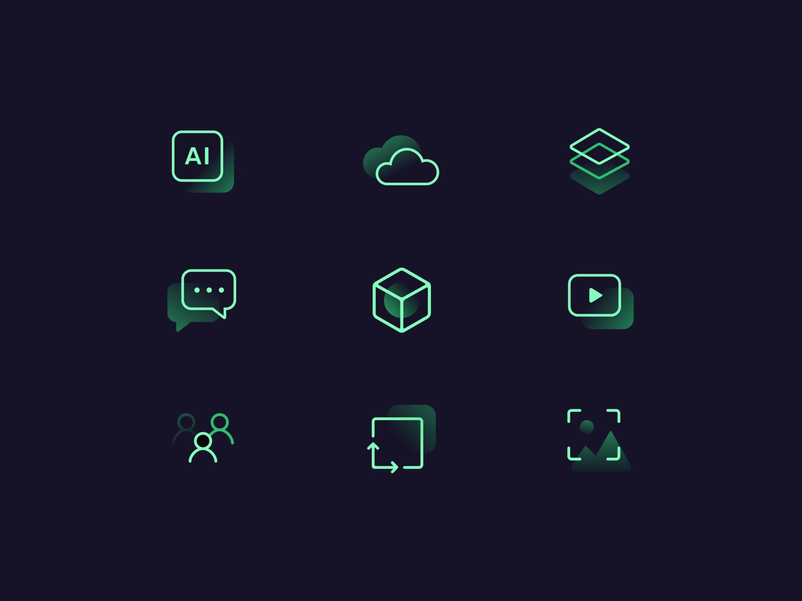Neon icons by Anastasiya for Synesis on Dribbble
