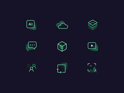 Neon icons expertise numbers neon colors colored website icons green design ui icon pack