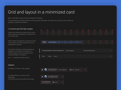 Cards. List view adaptive layout hover card guides rules design system web design ui ux
