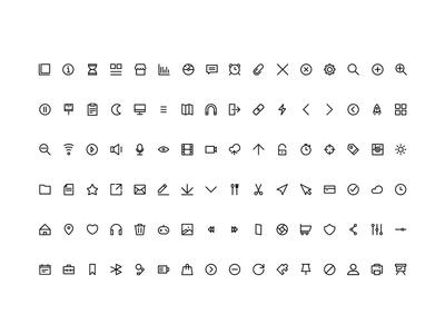Aperto - Line Iconography  outline line icon set ui design icons grid iconography icon