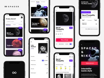 SPACED app concept. iphone x iphone 10 ux ui space profile app