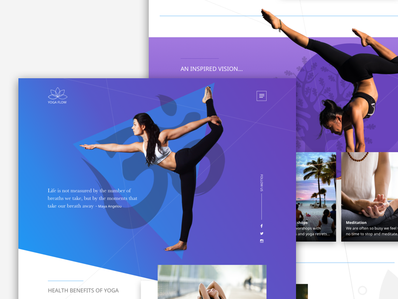 Yoga Flow grid fitness website theme fullscreen gradient sport layout exploring shapes yoga colours
