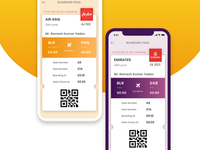Daily UI - Boarding Pass app interface mobile air asia emirates flight ticket ui daily ui boarding pass