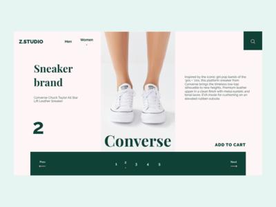 Sneaker Web Page next prev add to cart converse search z.studio e-commerce sneaker rebound rebound shot