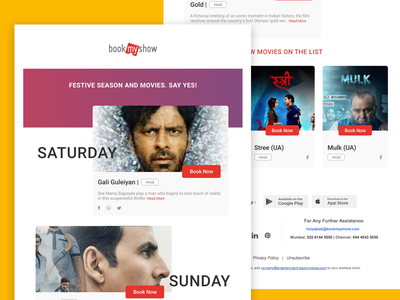 Email Newsletter - Concept 1 bookmyshow email newsletter adobe xd ux ui
