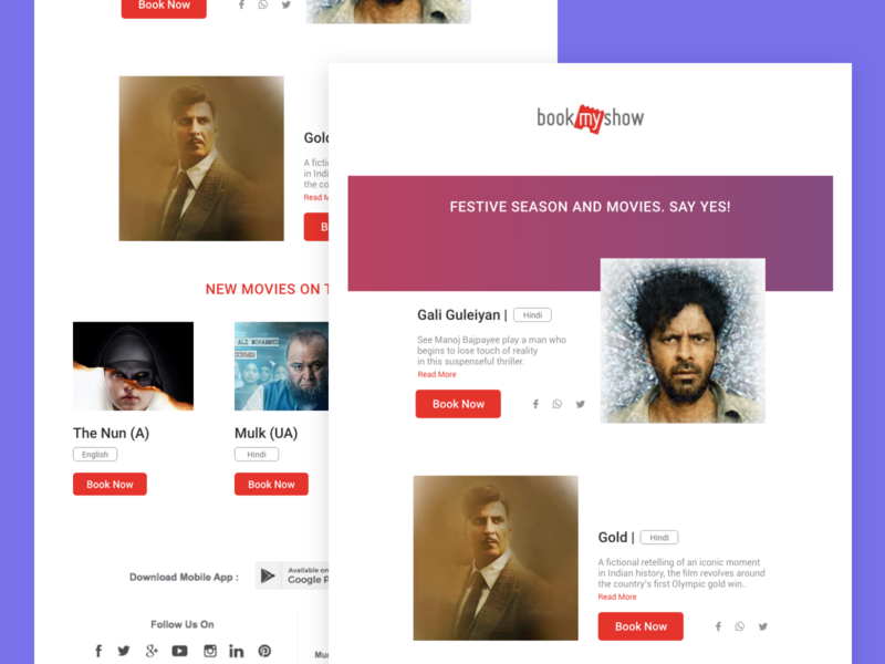 Email Newsletter - Concept 2 bookmyshow email newsletter ui ux daily ui