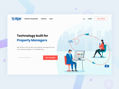 Homepage of Ajar Online homepage dubai kuwait property real estate management landlords property management gcc gulf middle east vector ux ui design dribbble tenants property management website ajar rewards ajaronline ajar