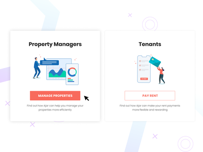 Property managers or Tenants? pay rent collect money card payment illustrations illustrator dubai gcc ajar online ajar manage properties tenant property manager property management typography design vector ui ux illustration