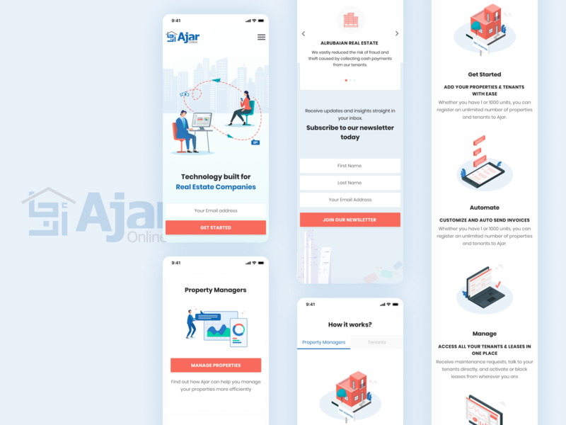 Mobile View - Ajar Online property marketing property search property how it works real estate companies technology pay rent rent manage properties property management ajar dribbble illustration
