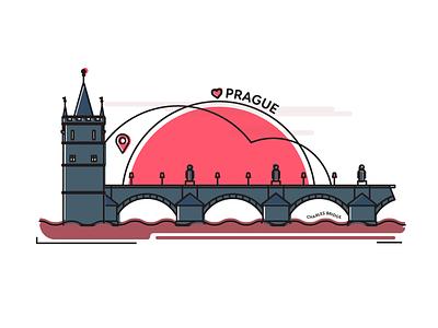 Prague - Charles Bridge bridge tower magnet graphic design flat souvenir prague illustration