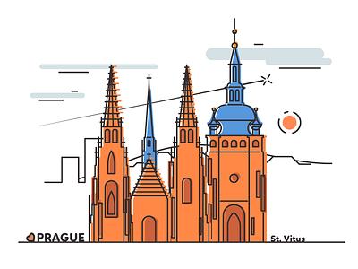 Prague - St. Vitus Cathedral st vitus cathedral magnet graphic design flat souvenir prague illustration