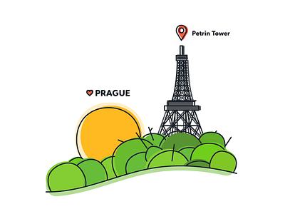 Prague - Petrin Tower love location forest tower graphic design flat souvenir czech prague illustration