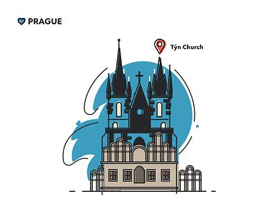 Prague - Týn Church location architecture map print czech church graphic design flat souvenir prague illustration