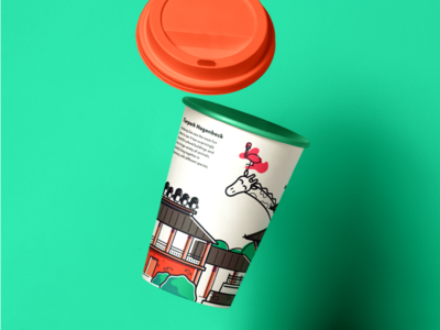 Hamburg - Zoo giraffe teal animals zoo hamburg graphic design package design paper cup illustration
