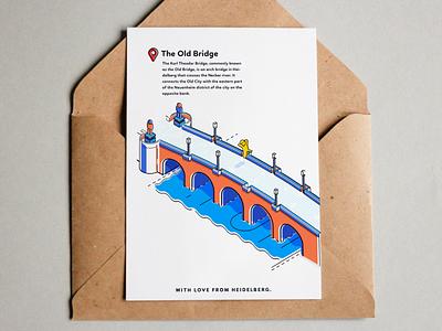 Heidelberg - The Old Bridge card gift blue orange bridge heidelberg souvenir flat graphic design illustration