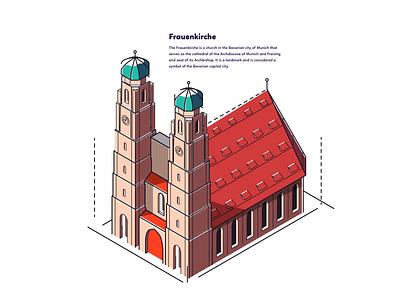 Munich - Frauenkirche architecture germany munich souvenir isometric cathedral church graphic design illustration