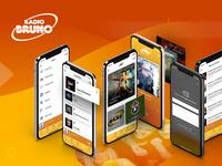 Radio Bruno Case Study android ios mockup play live music ui ux design ui design radio app design app branding app