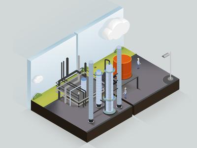 Industrial Plant industries industrial plant illustration isometric isometric design desiginspiration animation web app ui illustration vector design