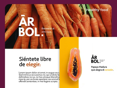 Arbol healthy food typography web street food vegetables food tree hello dribble desiginspiration app logo ui brands branding food app healtcare
