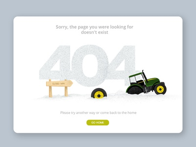 404 Error page flat animation ux website vector design typography illustration desiginspiration web ui tractor wrong 404 error page 404