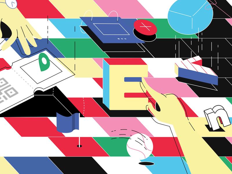 Future Eventzum - Mural grid tickets ticket app flatdesign spain uiux colors interaction mural app events