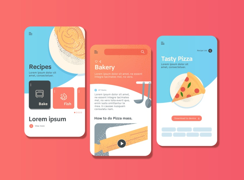 Concepts for Recipes mobile App minimal app food recipes vectorart freepik design ui icon illustration branding desiginspiration
