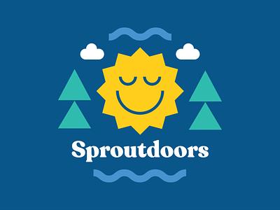 Sproutdoors event logo camping nature visual design sproutdoors outside sun outdoors logo design event design