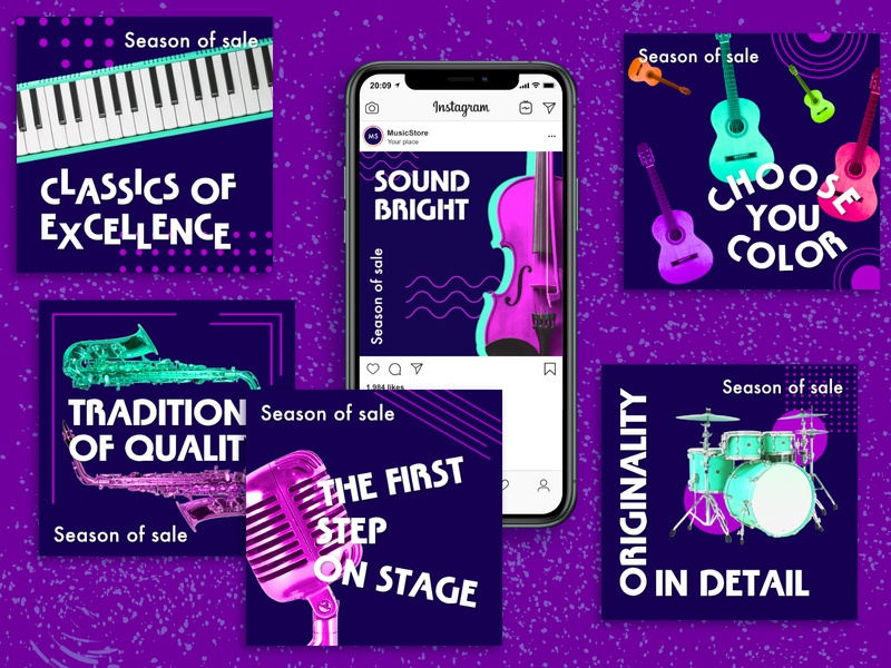 Instagram Banners Music Store musical instrument marketing music store music web web design social media instagram banner instagram post instagram graphic design design banner design banner