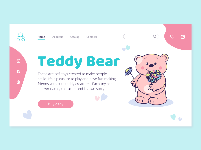 Teddy Bear/Webpage webdesign illustration sketch landing digital ui web flat design
