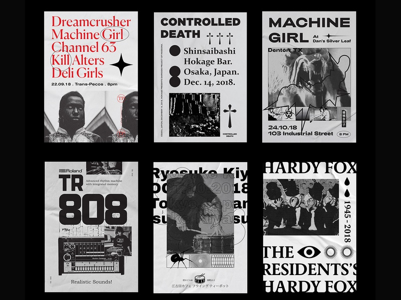 Poster selection for noise and punk shows 2018. album cover art print illustration poster design graphic design poster