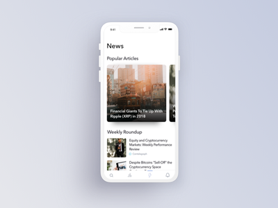 Cryptocurrency Newsfeed mobile finance app design ios ux ui app cryptocurrency