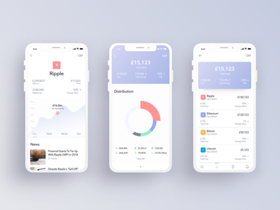 Cryptocurrency Portfolio interface ux ui app design app portfolio cryptocurrency