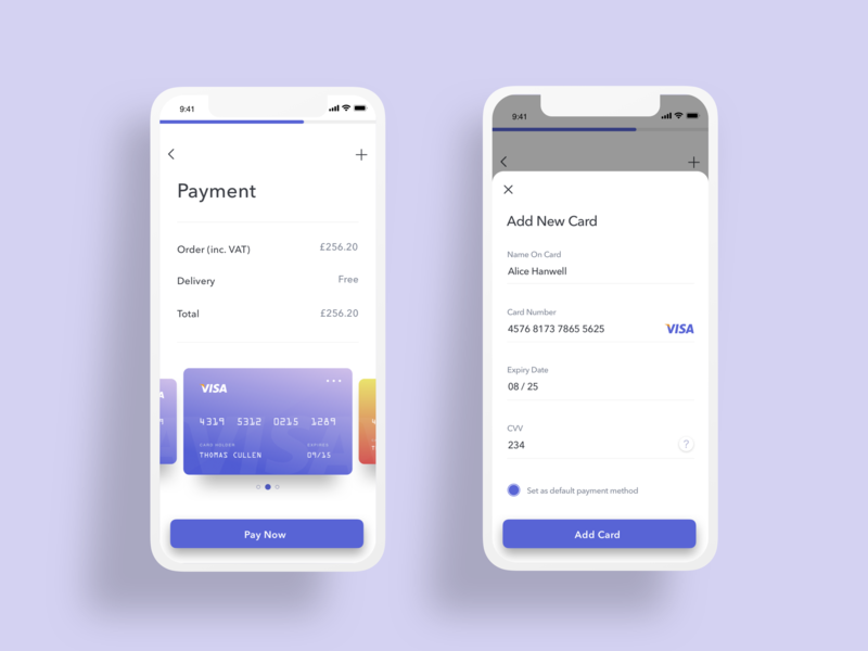 Credit/Debit Card Payment UI clean mobile ios interface graphic design app design daily challange dailyui 002 dailyui apps apps design ux vector app ui check-out payment