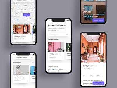 Real Estate App Concept property discover real estate clean mobile vector ux website app design app design ui