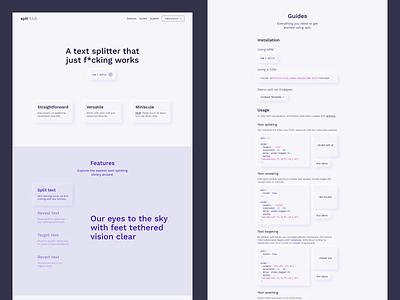 splt.js onepage webdesign clean minimal documentation neumorphic library npm javascript ui web design web